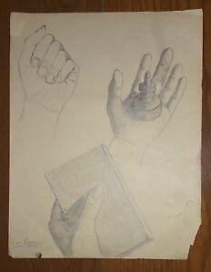"SATURNINO HERRAN GUINCHARD 11"" x 8.5"" PENCIL ON PAPER DRAWING SIGNED"