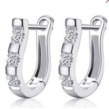 Women 925 Silver Filled Piano Shape Crystal White Zircon Buckle Stud Earrings