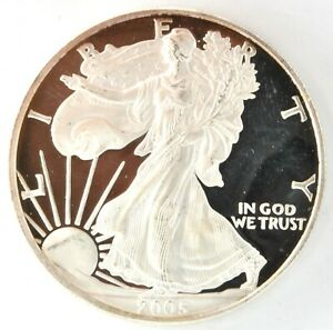 2005 W Proof  American Eagle Silver $1 Dollar Coin West Point Bullion Investment