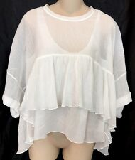 Chloe Top Milk White With Tank Top Cotton ShortSleeve Full Cut 34 Xs