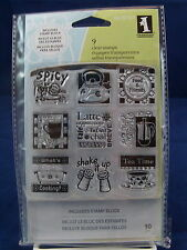 NEW INKADINKADO CLEAR STAMP SET WITH STAMP BLOCK IN THE KITCHEN COOKING 60-30167