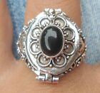 925 Solid Silver Balinese Poison Wish Locket Ring Black Onyx Size 7-H120