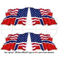 USA United States America-NORWAY American-Norwegian Flying Flag 50mm x4 Stickers