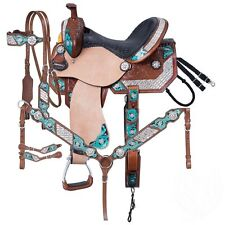 16 Inch Ashton Western Barrel Saddle 5 Pc Pkg Hand Painted-Crystals-Silver Royal