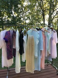 Vintage Lot of 11 Sleepwear Chemise Nightgown Robe Nylon Cotton Floral Sz Med M