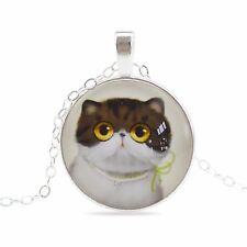 Vintage Style Glass Pendant Blue Black & White Cat Kitty Elegant Necklace N456