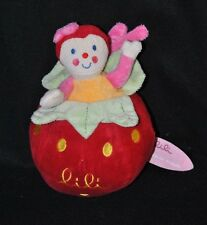Peluche doudou lili fraise DIM DAM DOUM KATHERINE ROUMANOFF grelot 24 cm TTBE