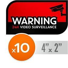 UV Resistant, NO FADE Security CCTV Warning Stickers - 24h Video Surveillance De