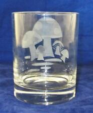 Bonwit Teller 1950's Mid Century Modern Glass Etched Mushroom Old Fashion 4 1/4""