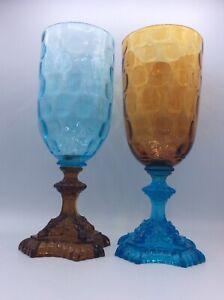 Paire de vases verre soufflé moulé coloré bleu ambre Portieux George Sand