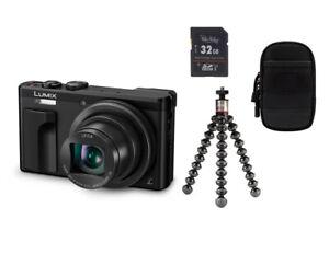 Panasonic DMC-TZ81 EG-K schwarz + Zubehörpaket 32GB SDHC + Tasche + Stativ