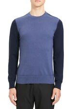 NEW Theory Men's Hilles Crew Neck Cashmere Sweater SIZE LARGE COLOR-BLOCK BLUE