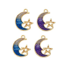 Lot of 8 Purple and Blue Enamel Metal Alloy Moon Star Pendant Charm 20x15 MM
