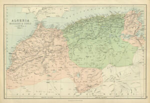 Algeria Morocco & Tunis. North Africa. Tunisia. BARTHOLOMEW 1882 old map