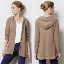Anthropologie Sparrow Womens S Cardigan Sweater Brown Snap Front Hooded Tunic