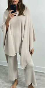Ladies Womens Lounge Wear Knitted 2Pcs Co Ord Set Poncho Top Bottoms Tracksuit