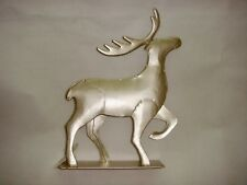 Silver Tone Metal Reindeer Stag with Antlers Ornament Gift Christmas Collectible