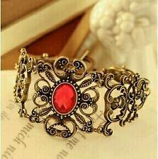 #3041 Fashion Luxury Palace Retro Flower Vine Flowers Imitation Ruby Bracelet