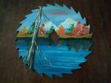 """Hand Painted Saw Blade TREE LAKE MOUNTAINS 7"""" SIGNED BY ARTIST"""