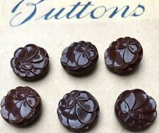 9 Vintage Brown Glass 1940s 1.5cm Flower Buttons