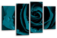 TEAL ROSE FLORAL LOVE ART PICTURE FLOWER CANVAS WALL MULTI 4 PANEL 112cm