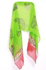 Green Red Black & Mustard Tiger Silhouettes Print Sheer Arts Event Scarf (S157)