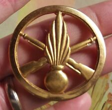 Ancienne Broche Médaille Soldat du Feu Pompier Flamme Béret Infanterie Vintage