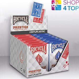 12 DECKS BICYCLE PRESTIGE 100% PLASTIC POKER PLAYING CARDS JUMBO NEW