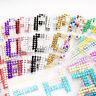 27 Lettere Alfabeto Adesive Strass Autoadesivo Cristal Diamante da Incollare