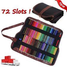 72 Colored Pencil Organizer Holder Case Canvas Wrap Gel Pen Storage Bag School