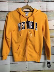 Section 101  Majestic Unisex Sz Small  WEST VIRGINIA YELLOW ZIP UP Hoodie