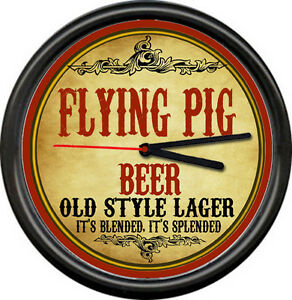Flying Pig When Fly Beer Ale Brewing Tavern Man Cave Retro Bar Sign Wall Clock