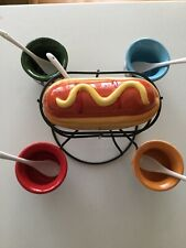 Pier One Imports Hot Dog Condiment Spinner with Bowls & Glass Spoons