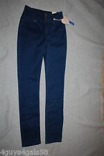 Junior Womens DARK BLUE SNAKESKIN PRINT High Rise Skinny Jeans WILD BLUE Size 0