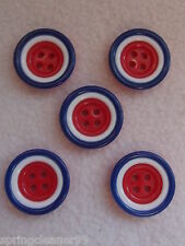 5 x RED,WHITE & BLUE SAUCER SHAPED BUTTONS ~ 36L (Approx 22mm) CRAFT/ FASHION