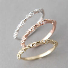 Solid Gold Party Rose Wedding Ring Women Stack Women Jewelry Fashion Twisted
