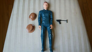 Vintage Mike Hazard Double Agent Action Figure with Radio Hat, Bowler & Luger
