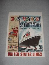 """SS UNITED STATES LINES  1960's Bon Voyage Movie Poster  /  21"""" x 27"""""""