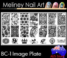 BC-01 Stamping Nail Art Image Plate Design Rectangle XL Stencil metal