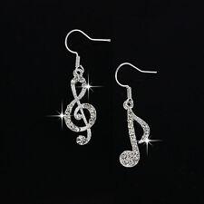 New 1 Pair Elegant Jewelry Crystal Rhinestone Music Note Drop Earrings for Women