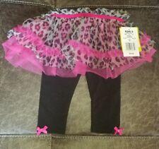 NWT Girls Baby Starters 6 month animal print pink tutu  black pants