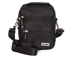Lorenz Small Black Polyester Organiser Gadget Bag - shoulder strap and Belt loop