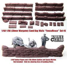 """1/48 - 1/56 (28mm Wargame) Sandbag Walls Set #3 """"Fence/Brace"""" - Value Gear Resin"""