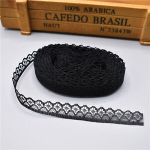 5 yards Lace Ribbon Tape Width 14MM Trim Fabric DIY Embroidered lace (Black)