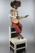 Antique black banjo player musical automaton, by Gustave Vichy
