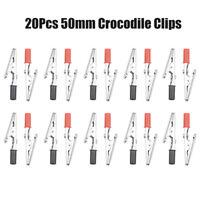 20PCS MINI CROCODILE CLIPS BLACK RED ALIGATOR DIY CRAFT HOBBY 50mm TEST PROBE UK