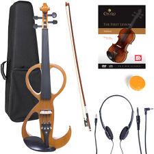 NEW 4/4 Ebony Electric Violin w/Pickup-Yellow,Style-3