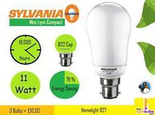 3x NEW SYLVANIA Mini Lynx Compact 11w Energy Saver B22 10,000 Hours Bulbs Lamps