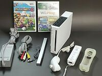 Nintendo Wii White Console RVL-001 Game Cube Compatible Bundle! W/ Mario Party8
