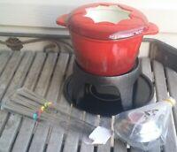Klee 12-Piece Cast Iron Fondue Set with Red Fondue Pot, 6 Fondue Forks, Fondue B